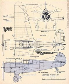Airplane blueprint Curtiss+Hawk+75.jpg 782×945 pixels #aviationideas