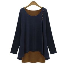Stylish Faux Twinset Design Scoop Neck Long Sleeve T-Shirt For Women - CADETBLUE S