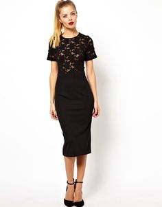Image 1 of ASOS Ponte Pencil Dress With Lace T-Shirt