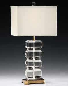 solid crystal lamp with antiqued brass  trim; contemporary lighting fixtures