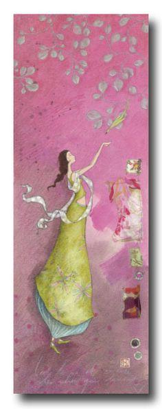 "Gaelle Boissonnard Card (appr. 12"" x 4"") requires extra postage.  Available at Adelaide's Flowers La Jolla.  $8.00 Art Fantaisiste, Art Carte, Illustrator, Art Et Illustration, Whimsical Art, Watercolor Print, Beautiful Paintings, Poster, Female Art"