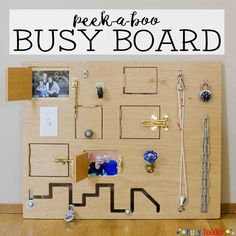 Peek-a-boo DIY board (made of 2 large plywood boards, Various door locks…