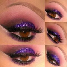 Glittery purple perfect for brown eyes