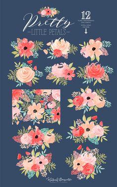 Floral Watercolor Clipart Flower Clipart Flower Bouquet Clip Art Pink Peach Flowers Hand Painted Watercolor Florals - Pretty Little Petals Canvas Wall Decor, Diy Wall Art, Floral Print Design, Floral Prints, Floral Watercolor, Watercolour, Chalk Wall, Sticker Ideas, Cookie Crumbs