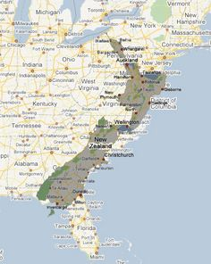 Size of New Zealand compared to the US East Coast