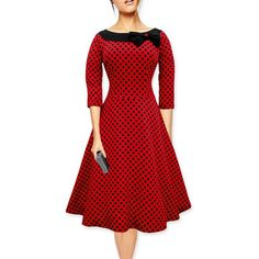 Chicnova Fashion Polka Dot Round Neckline Dress (25 AUD) ❤ liked on Polyvore featuring dresses, polka dot dress, round neck dress, red dot dress, round neckline dress and spotted dress
