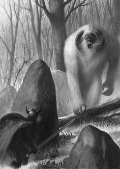 fantasy knight battling monster troll