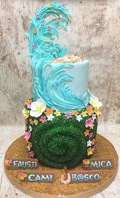 A gallery of fondant and gum paste cakes from a collection of cake decorators who have created unique and fun birthday parties for girls around the world. Moana Birthday Party, Moana Party, Luau Birthday, Birthday Desserts, Birthday Cake Girls, Birthday Ideas, Moanna Cake, Moana Cupcake, Bolo Moana