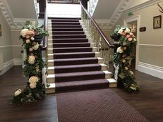 Beautiful staircase at Ashfield House dressed with gorgeous fresh foliage and stunning hydrangea,peonies and roses. House Dress, Hydrangea, Floral Wedding, Peonies, Stairs, Roses, Fresh, Flowers, Beautiful