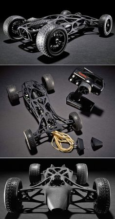 3D printed carbon fiber RC car powered by a rubber band http://www.industrytap.com/students-3-d-print-rc-car-plastic-carbon-fiber-propel-5m-elastic-band/26091
