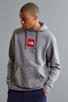 Slide View: 1: The North Face Embroidered Box Logo Hoodie Sweatshirt