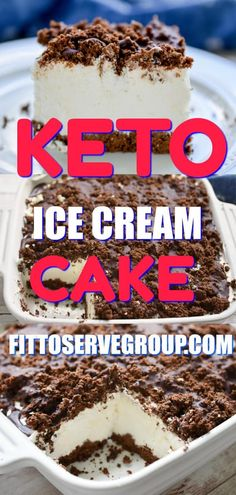 This delicious Keto Ice Cream Cake is grain-free, gluten-free, nut-free. Plus if that's not enough the ice cream layer is churn-free. What's not to love? #ketoicecreamcake #lowcarbicecreamcake #ketocake #lowcarbcake
