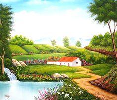 Imágenes Arte Pinturas: Casa campestre casa de campo, óleo sobre lienzo, Antonio José Grimaldos