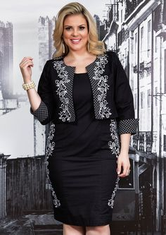 Liló Fashion: Vestido Tubinho Plus Size Preto Festa e Bolero com Bordados - Donna Gran R$389,90