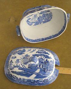 1800's Staffordshire Flow Blue Willow Transferware Serving Bowl Tureen | eBay