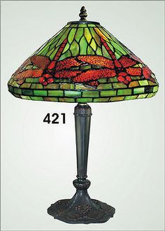 Tiffany Green/Red Dragonfly Accent Table Lamp