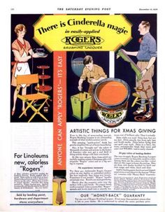 "1930 Rogers paint ad. ""There is Cinderella magic in easily-applied Rogers."" The Saturday Evening Post."