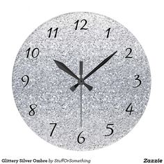 Glittery Silver Ombre Large Clock