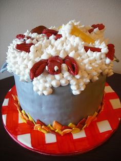 Crawfish Boil Cake graphic-design-crawfish Andrea could do this! Cake Cookies, Cupcake Cakes, Crawfish Party, Lobster Boil, Lobster Cake, Seafood Boil, Lobster Party, Seafood Party, Creative Cakes