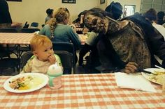 This is just classic! Judith having lunch with a walker.