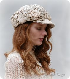 Heirloom Tea Dyed Lace Newsboy Hat par GreenTrunkDesigns sur Etsy, $85.00