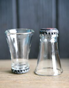 Shot glass from upcycled cutted bottles in glass  with kitchen