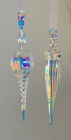 Hand Blown Dichroic Ornament by TeriSokoloffGlass on Etsy, $28.00