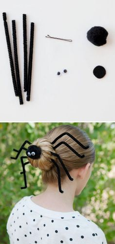 How to Make Spider Halloween Hairdo - DIY & Crafts Do it yourself spider hair accessories. Halloween Crafts For Kids, Holidays Halloween, Halloween Themes, Happy Halloween, Halloween Decorations, Halloween Party, Costume Halloween, Homemade Halloween, Halloween Hairstyle