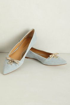 Frenchie Flats #anthropologie  Love the bows and the sky blue suede.  First tootsie purchase for spring!