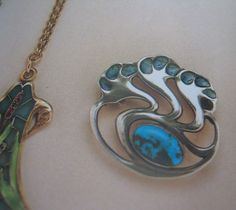 Antique Signed Jugendstil Enamel Sterling Silver Art Nouveau Fahrner from antiquejewelryexpo on Ruby Lane