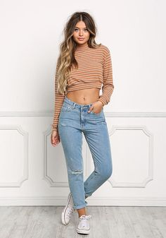 Brown Soft Stripe Pullover Crop Top