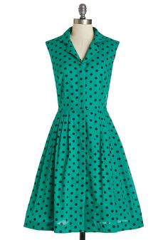 Emily and Fin Bake Shop Browsing Dress in Emerald Dots | Mod Retro Vintage Dresses | ModCloth.com