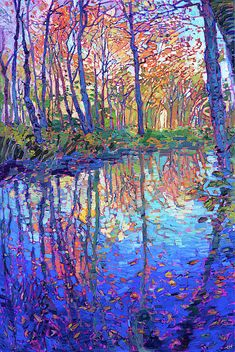 Reflections in Color - Erin Hanson Prints - Buy Contemporary Impressionism Fine Art Prints Artist Direct from The Erin Hanson Gallery Landscape Art, Landscape Paintings, Paintings Of Nature, Paintings Of Trees, Bright Paintings, Landscape Prints, Landscape Lighting, Urban Landscape, Reflection Art