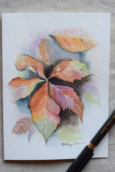 Virginia Creeper Fall Leaves Watercolor by SunsetPeonies on Etsy