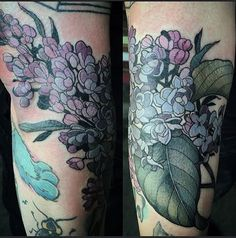 Some #lilac for Brit! Squeezed between some existing tattoos. @wonderlandpdx