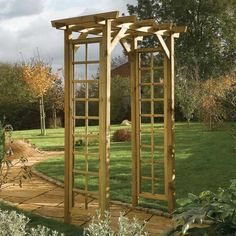 This Superior Square Top Wooden Garden Arch Is Of Sturdy Construction. Made In Quality F.S.C. Sustainable Timber. Features Decorative Trellis Work Panels . (attractive Wooden Arbours And Arches #5)