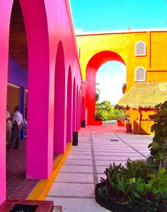 The kind of Mexican architecture / colors that make Mexico special.  I don't know if where this one is, but it definitely LOOKS like the Mexico I love.
