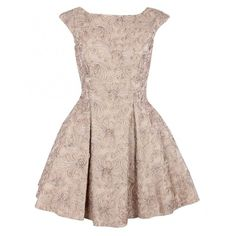 The Pretty Dress Company Womens Beige Lace Fifties Style Full Skirt... ($375) ❤ liked on Polyvore featuring dresses, vestidos, short dresses, skirts, beige dress, pink dress, short pink dress and fitted lace top