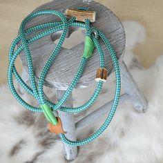 Retrieverleine / Hundeleine 'Elegant' | 6mm hellblau-neon mit Zugstop by KENSONS for dogs