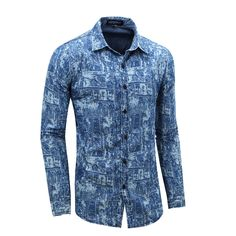 Cheap men casual shirt, Buy Quality men casual shirt brand directly from China mens designer casual shirts Suppliers: Top Selling Men's Casual Shirts Popular European and American Allover Print Brand Design Mens Long Sleeve Jeans Cotton Shirt Casual Shirts For Men, Men Casual, Denim Shirt Men, Denim Trends, Jean Shirts, New Dress, Classic Style, Sport, Long Sleeve Shirts