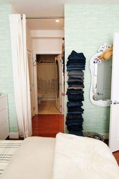 Nicole & Aaron's Paris-Inspired Loft.  IKEA shelves for jeans etc