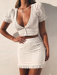 White Two Pieces Set Women Solid Tight Crop Top Sexy Package Hip Skirt Women Clothing Summer Outfits, White Two Pieces Set Women Solid Tight Crop Top Sexy Package Hip Skirt – geekbuyig. Modest Fashion, Fashion Outfits, Womens Fashion, Style Fashion, Dress Fashion, Fashion Clothes, Fashion Ideas, Fashion Trends, White Lace Bodycon Dress