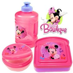 Officially licensed Disney lunch set featuring the Disney Princesses! Three piece set includes pull top water bottle, snack container and sandwich box. 16 OZ water bottle is spill-proof with pull-up top. Has a convenient built-in handle. Sandwich box measures about 4.75 inches x 4.5 inches by... - http://kitchen-dining.bestselleroutlet.net/product-review-for-disney-minnie-mouse-bow-tique-lunch-set-water-bottle-snack-box-sandwich-box-pink/