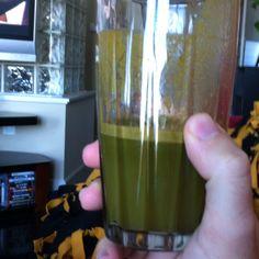 Kale. 3 carrots. Whole orange. Ginger. I promise it tastes way better than it looks.