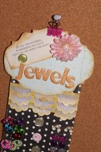 A place for all your little gal's jewels by SarahBeth Carter. This is a great remnant project for scrappers.     little black dress kit club scrapbook home decor