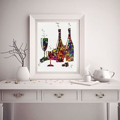 This is truly a Rich, Unique, and Bold Wine Wall Art Decor piece.  admittedly i love all types of wine wall art decor especially wine wall clocks, metal wall art,  wine grapes wall art decor. As these provide great kitchen decorating inspiration making wine wall art my favorite type of kitchen wall art.  Wine Bottle And Glass Watercolor Posters Art Prints Wall Decor Artworks Wall Art Dining Room Art Wall Hanging Kitchen Decor House Warming