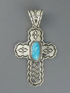 Handmade Sterling Silver Turquoise Cross Pendant by Mike Thompson, Navajo - Handmade Sterling Silver Turquoise Cross Pendant by Mike Thompson, Navajo
