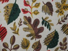 Vintage Mid-Century leaf pattern barkcloth drape fabric.......Mad Men chic! Mid-century Modern, Contemporary, Tree Patterns, Draped Fabric, Mad Men, Fabrics, Mid Century, Textiles, Leaves
