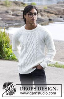 Siberia - Men's knitted sweater with cables. The piece is worked in DROPS Merino Extra Fine. - Free pattern by DROPS Design Mens Knit Sweater Pattern, Mens Cable Knit Sweater, Men Sweater, Angora Sweater, Cable Knitting Patterns, Free Knitting, Crochet Patterns, Knitting Sweaters, Drops Design