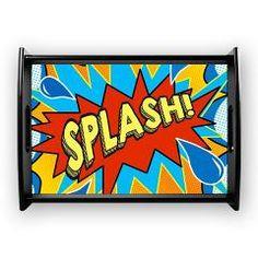 Comic Style Splash! Shower curtain Coffee Tray